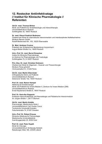Referentenliste (PDF) - Zentrum für Pharmakologie und Toxikologie ...