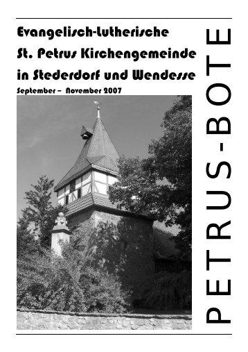 Sonntag, 30.9.2007, 19:30 Uhr St. Petrus Kirche Stederdorf Franz ...