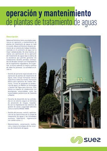 Ficha - Operacion y mantenimiento de plantas de tratamiento de aguas SUEZ