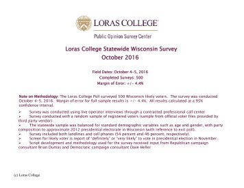 Loras College Statewide Wisconsin Survey October 2016