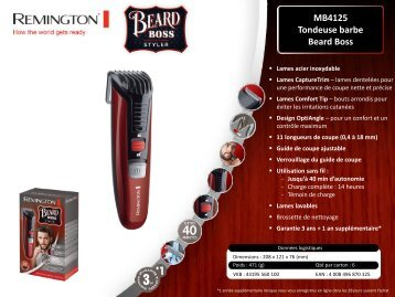 Remington Tondeuse barbe Remington MB4125 - fiche produit