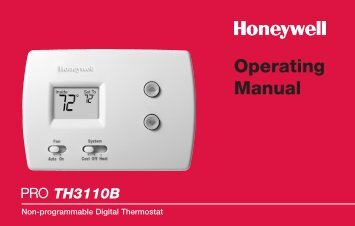 Honeywell PRO 3000 Non-Programmable Thermostat - PRO 3000 Non-Programmable Thermostat Operating Manual (English)