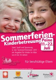 Sommerferien- Kinderbetreuung - Peine Marketing GmbH