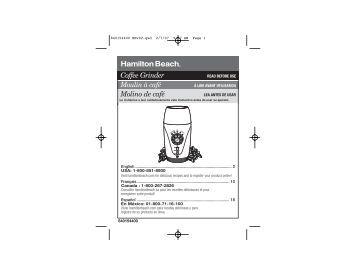 hamilton beach coffee grinder manual