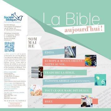 La Bible Aujourd'hui ! avril-juin 2016
