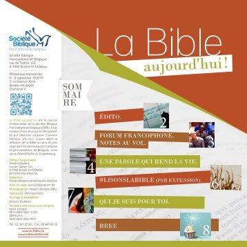 La Bible aujourd'hui ! octobre-décembre 2016