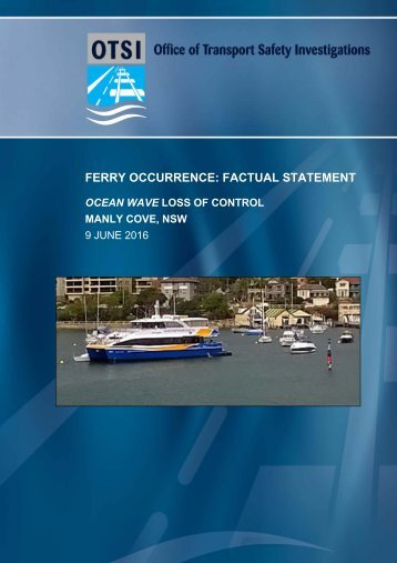 FERRY OCCURRENCE FACTUAL STATEMENT