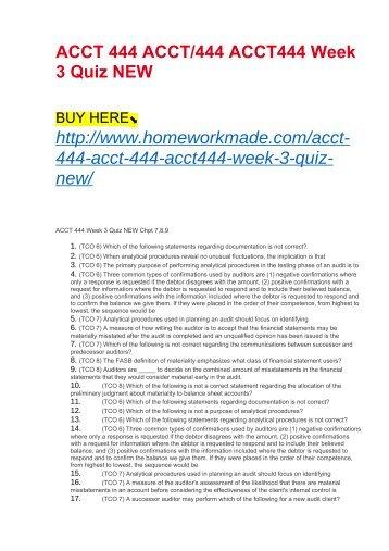 ACCT 444 ACCT:444 ACCT444 Week 3 Quiz NEW