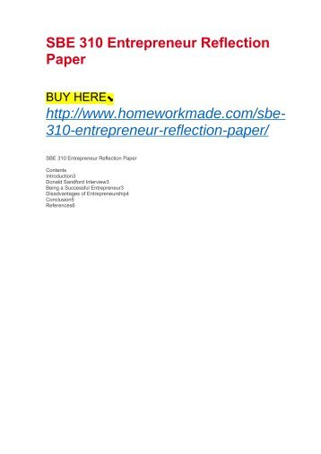 SBE 310 Entrepreneur Reflection Paper