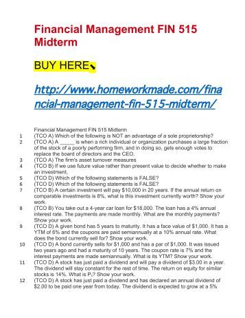 Fin 3716 Midterm Exam Coursework Sample September 2019