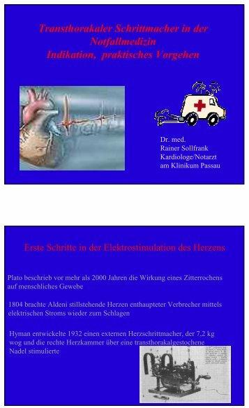 Transthorakaler Schrittmacher in der Notfallmedizin – Indikation ...