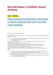 EDU 645 Week 4 JOURNAL Rubric Analysis