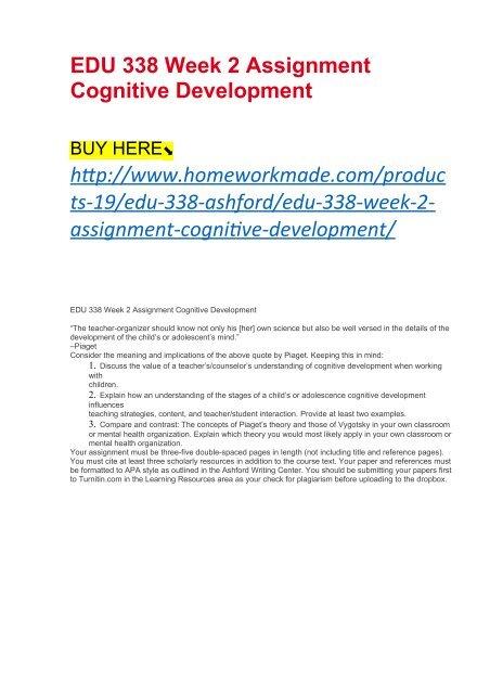 EDU 338 Week 2 Assignment Cognitive Development