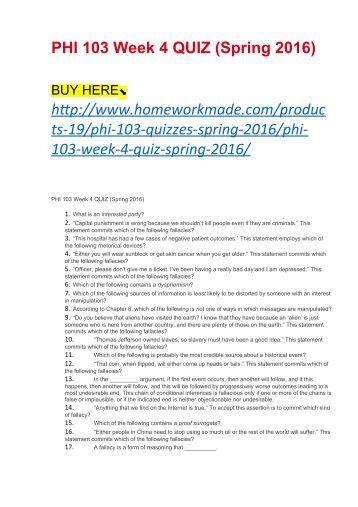 PHI 103 Informal Logic Week 4 Quiz with Answers (Spring 2017)