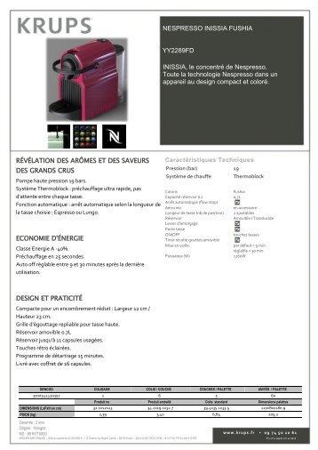 Krups Nespresso Krups YY2289FD Inissia Fushia - fiche produit