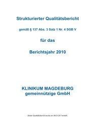 Qualitätsbericht Klinikum Magdeburg gGmbH - 2010 - Städtisches ...