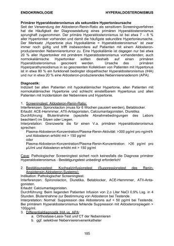 ENDOKRINOLOGIE HYPERALDOSTERONISMUS 185 Primärer ...