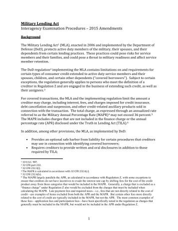 Military Lending Act Interagency Examination Procedures – 2015 Amendments