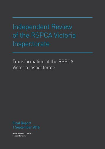 Independent Review of the RSPCA Victoria Inspectorate