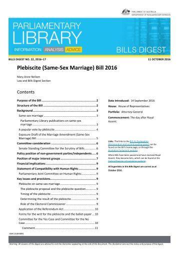 Plebiscite (Same-Sex Marriage) Bill 2016