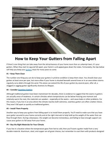 How to Keep Your Gutters from Falling Apart