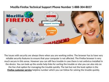 Mozilla Firefox has encountered a problem 1-888-304-8037