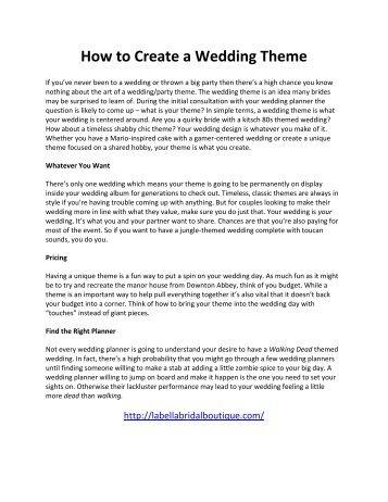 How to Create a Wedding Theme