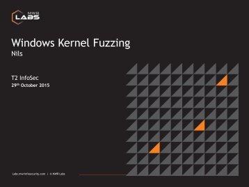 Windows Kernel Fuzzing