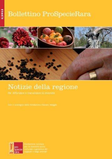 Bollettino ProSpecieRara Notizie della regione