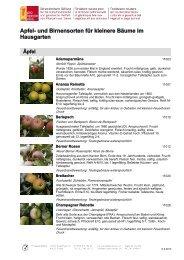 Apfel- und Birnensorten für kleinere Bäume im ... - ProSpecieRara