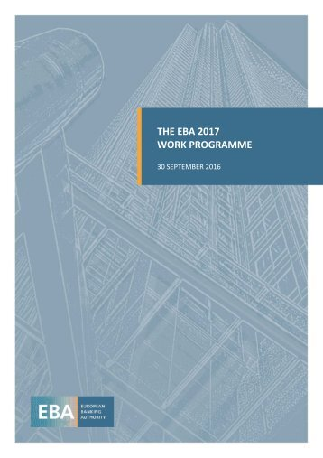 THE EBA 2017 WORK PROGRAMME