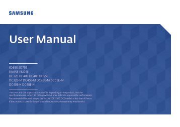 Samsung Ecran LFD 48'' - 350 cd/m² DC48E (LH48DCEPLGC/EN ) - Manuel de l'utilisateur 1.72 MB, pdf, Anglais