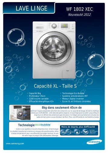 7c8794413cea7c excellent samsung lave linge compact samsung eco bubble wfxec fiche produit  with produit lave linge