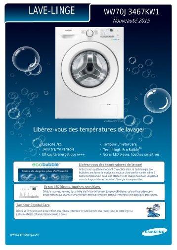 Samsung Lave linge hublot Samsung ECO BUBBLE WW70J3467KW1EF - fiche produit
