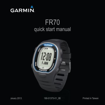 Garmin FR70 - Quick Reference Guide