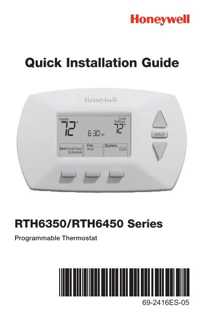 honeywell 5 1 1 day programmable thermostat (rth6450d) 5 1 1 dayhoneywell 5 1 1 day programmable thermostat (rth6450d) 5 1 1 day programmable thermostat installation manual (english,spanish)
