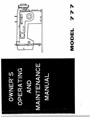 Singer W777 - English - User Manual