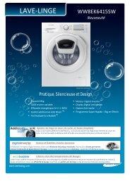 Samsung Lave linge hublot Samsung ADDWASH WW 8EK6415 SW - fiche produit