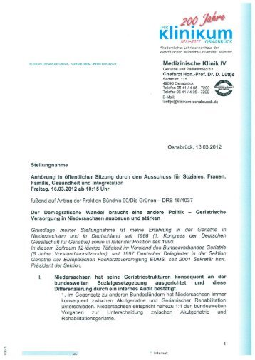 Stellungnahme Klinikum Osnabrück - Bundesverband Geriatrie