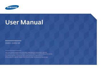 """Samsung Moniteur 85"""" - Tactile préassemblé - 430 cd/m² - QM85D-BR (LH85QMDRTBC/EN ) - Manuel de l'utilisateur 3.33 MB, pdf, Anglais"""