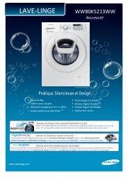 Samsung Lave linge hublot Samsung ADD WASH EX-WW80K5213WW/EF - fiche produit