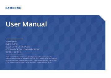 Samsung Ecran LFD 40'' - 350 cd/m² DC40E (LH40DCEPLGC/EN ) - Manuel de l'utilisateur 1.72 MB, pdf, Anglais