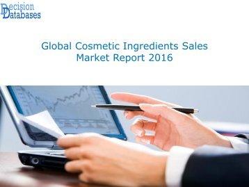 Global Cosmetic Ingredients Sales Market Report 2016