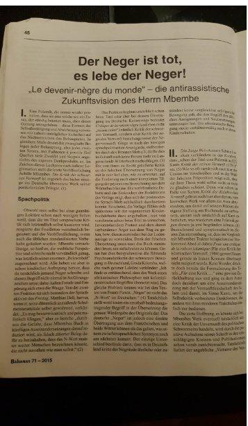 """Der Neger ist tot, es lebe der Neger! - """"Le devenir nègre du monde"""" - die antirassistische Zukunftsvision des Herrn Mbembe"""