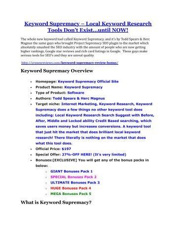 Keyword Supremacy Review-$24,700 BONUS & DISCOUNT