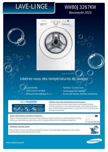 Samsung Lave linge hublot Samsung ECO BUBBLE WW80J3267KW/EF - fiche produit