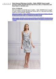 Sale discount Monique Lhuillier - Style 450092 Knee-Length Printed Taffeta Sheath Bridesmaid Dress with a V-Neckline and Bow Sash in oibridal com