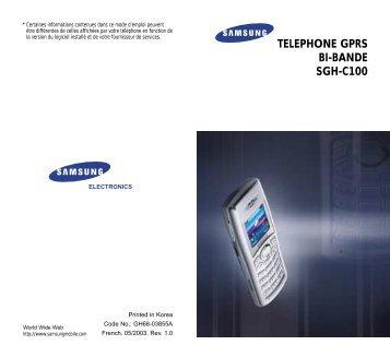 Samsung SGH-C100T (SGH-C100SSASFR ) - Manuel de l'utilisateur 1.03 MB, pdf, Français