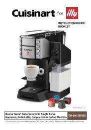 Cuisinart Buona Tazza® Superautomatic Single Serve Espresso, Caffé Latte, Cappuccino, and Coffee Machine -EM-600 - MANUAL