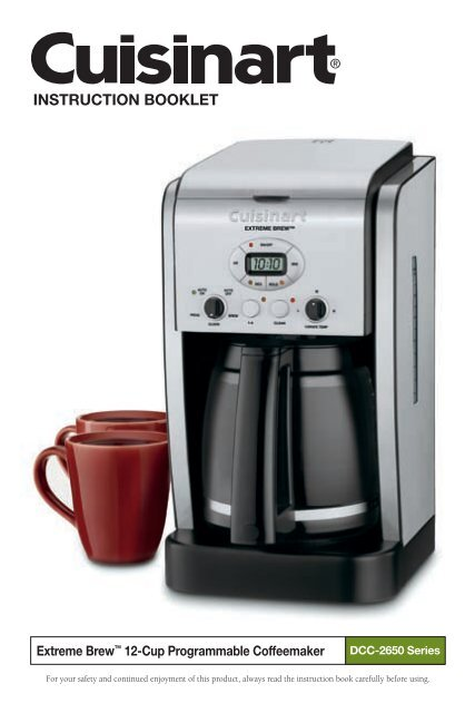 Cuisinart Extreme Brew Trade 12 Cup Programmable Coffeemaker Dcc 2650 Manual